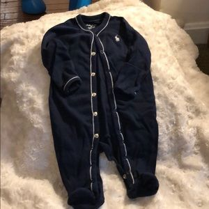 Like new, Ralph Lauren navy footed onesie, 3 mos